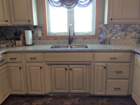 Transformed Oak Kitchen Cabinets into Painted with Glaze ...